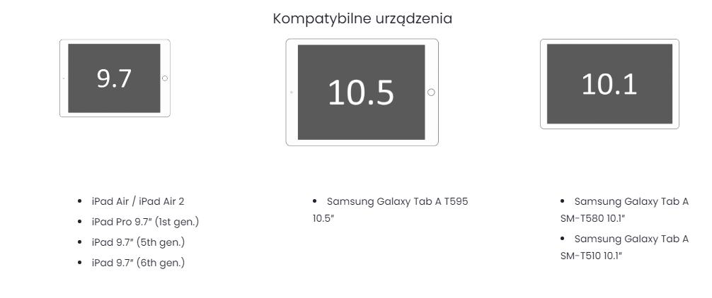 Stojak na tablet Companion Table - kompatybilność
