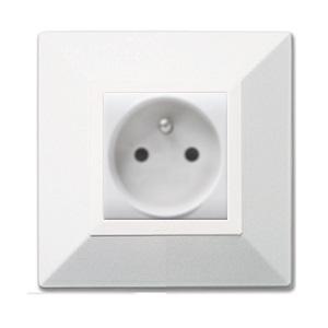 gniazdka elektryczne aluminiowe białe metalowe