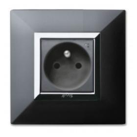 gniazdka elektryczne aluminiowe czarne połysk