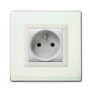 gniazdo elektryczne białe szklane