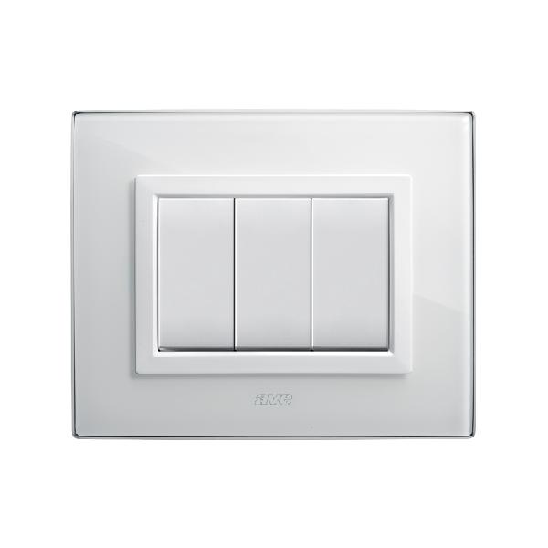 szklany włącznik światła biały