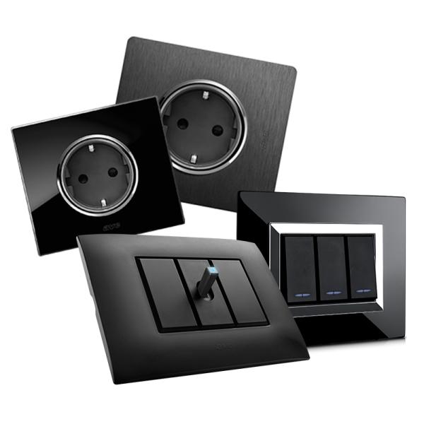 czarne ramki włącznika światła design