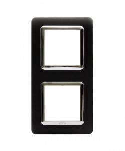 Ramka czarny mat wew. chromowana plastikowa x2