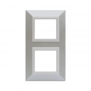 Ramka metalowa polerowana biel x2