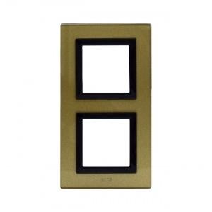 Ramka szklana złota x2