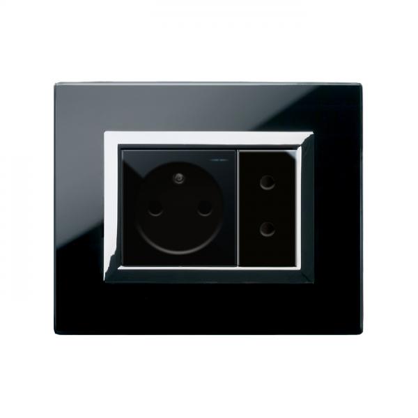 nowoczesna ramka gniazda czarna szklana