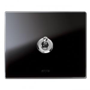 szklana ramka włącznika czarna