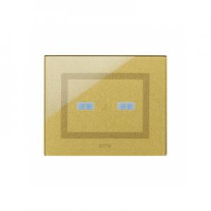 Ramka dotykowa złota szklana na dwa przyciski