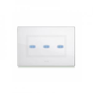 Ramka dotykowa biała szklana na trzy przyciski