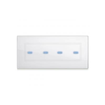 Ramka dotykowa biała szklana na cztery przyciski