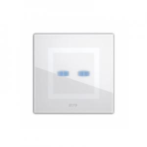 Ramka dotykowa biała szklana na dwa przyciski