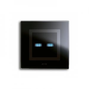 Ramka dotykowa czarna szklana na dwa przyciski